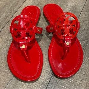 TORY BURCH || Miller Sandal, Red Patent Leather.